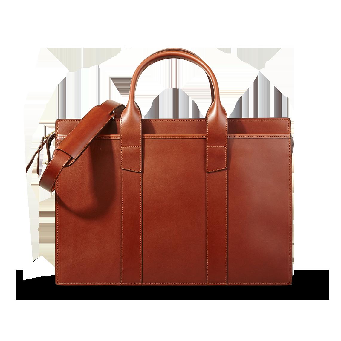 Frank Clegg Chestnut Double Single Gusset Zip-Top Briefcase