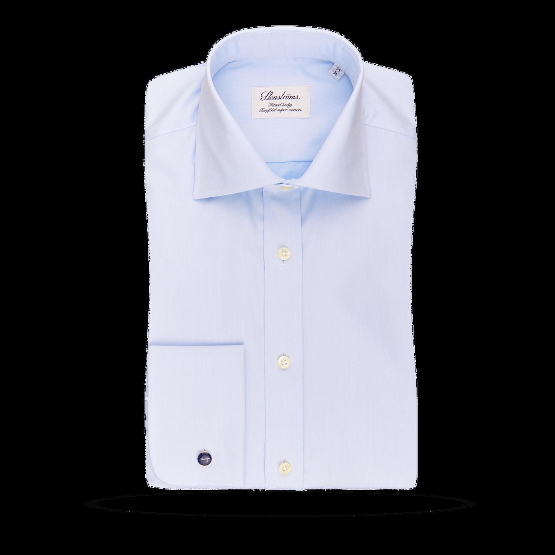 Stenströms Light Blue Fitted Body Double Cuff Shirt