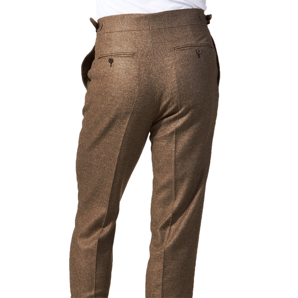 eidos mid brown lorenzo flannel trousers back