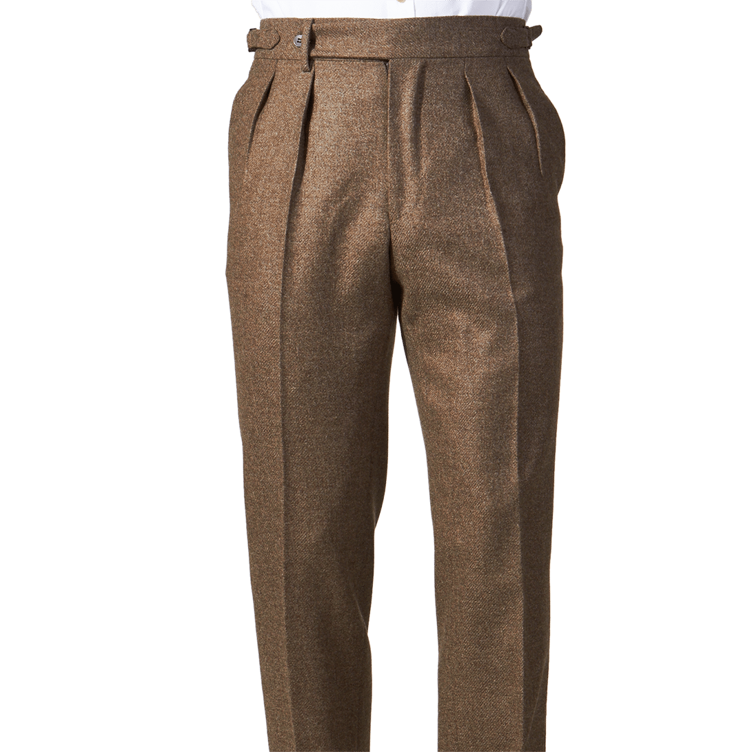 eidos mid brown lorenzo flannel trousers front
