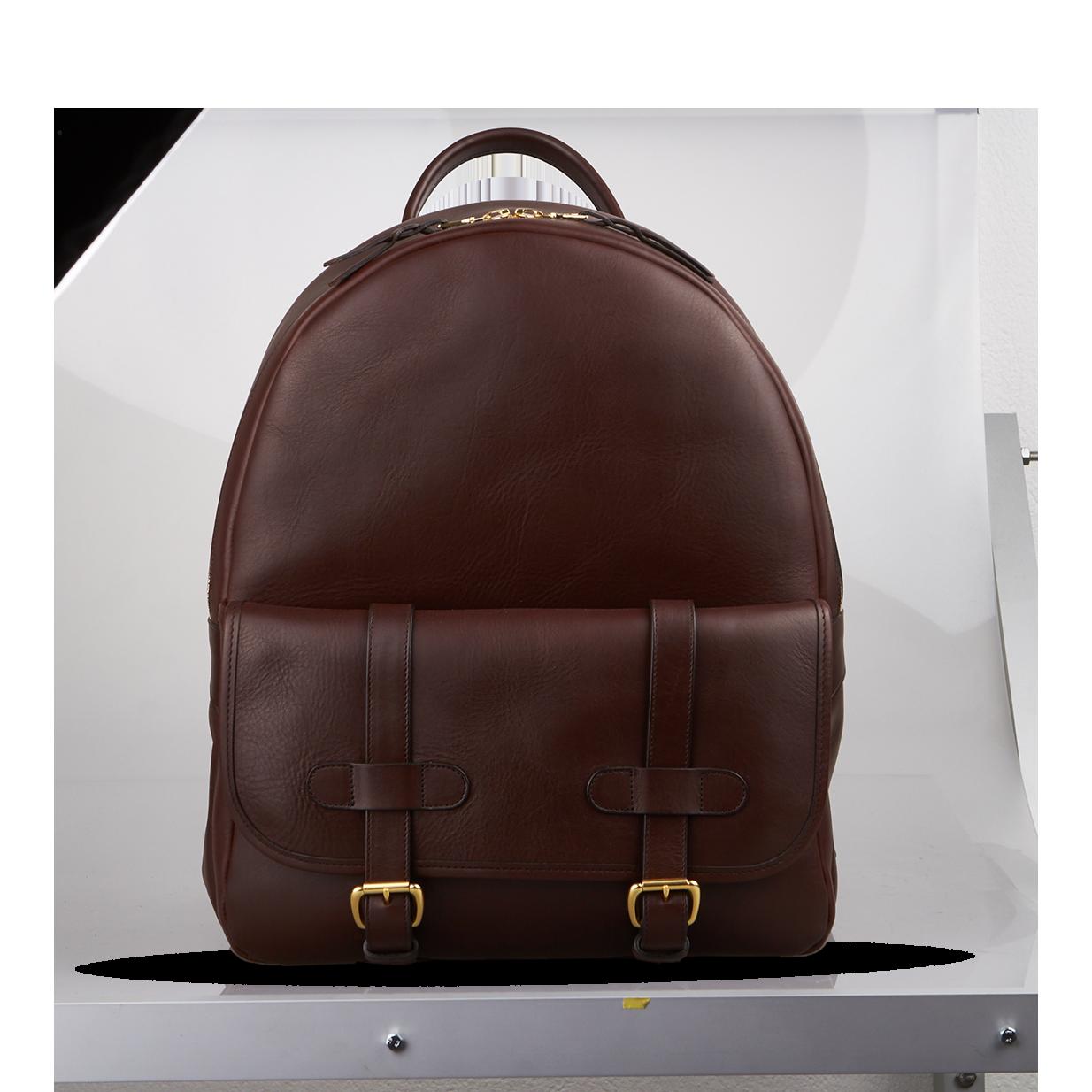 frank clegg chocolate hampton zipper backpack front