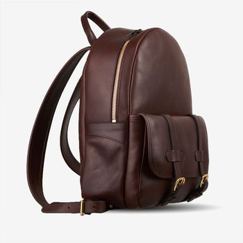 frank clegg chocolate hampton zipper backpack frontside