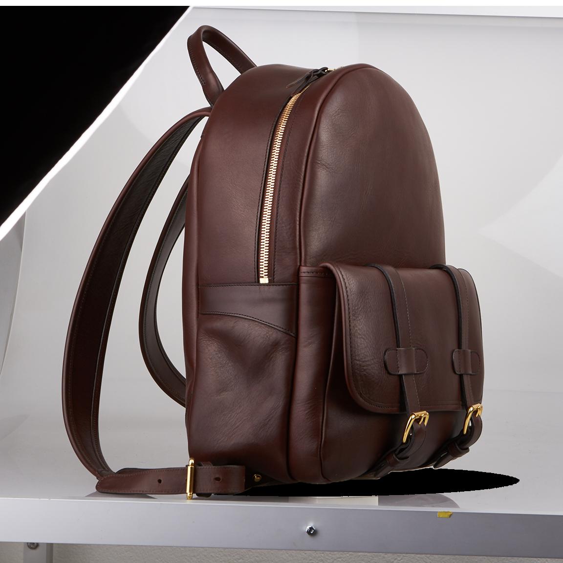 frank clegg chocolate hampton zipper backpack frontside