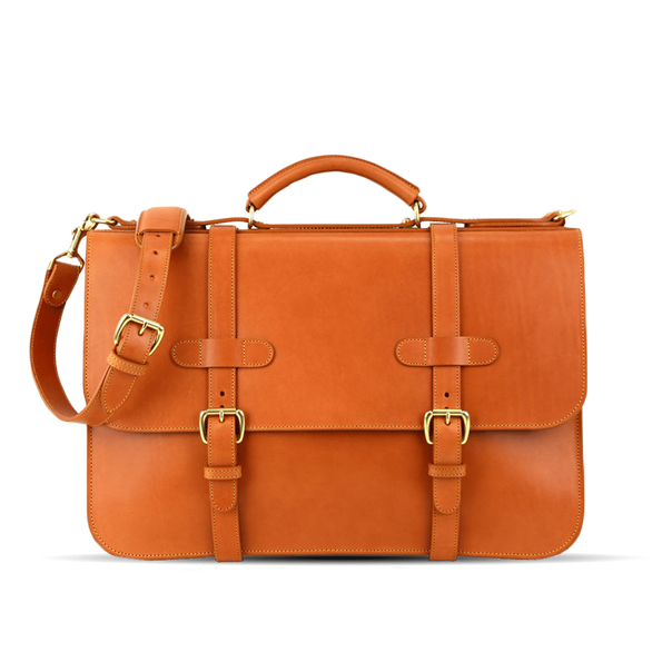 frank clegg tan english briefcase front strap