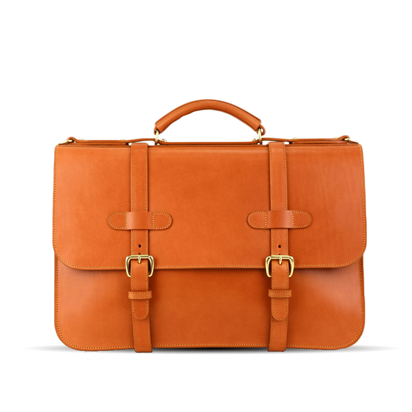 frank clegg tan english briefcase front