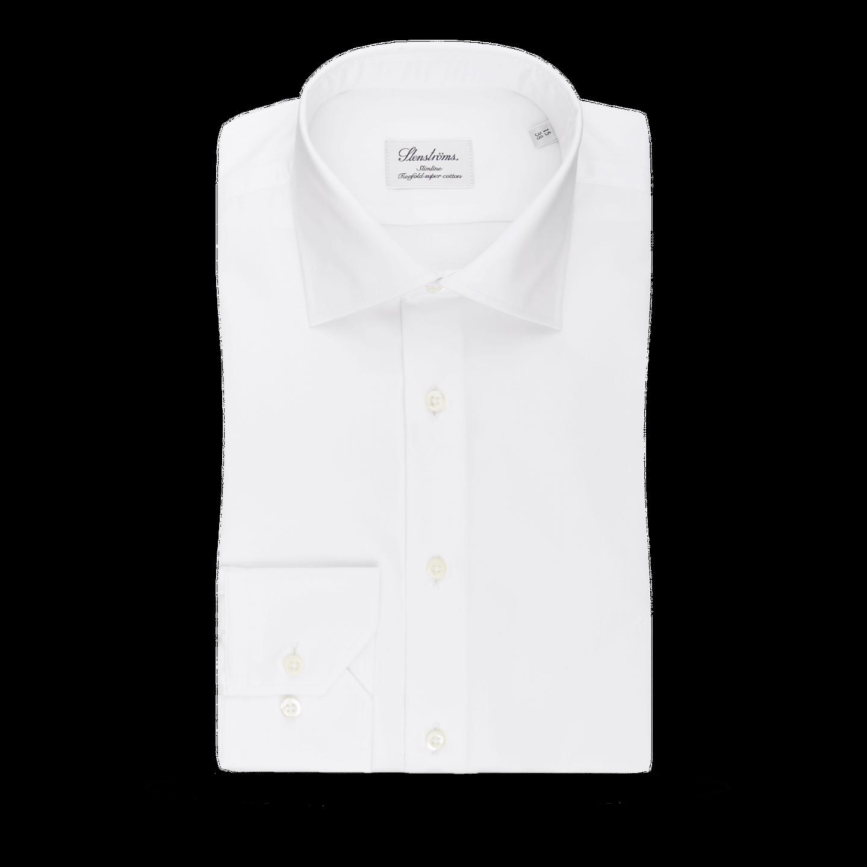 Stenströms White Slimline Single Cuff Shirt