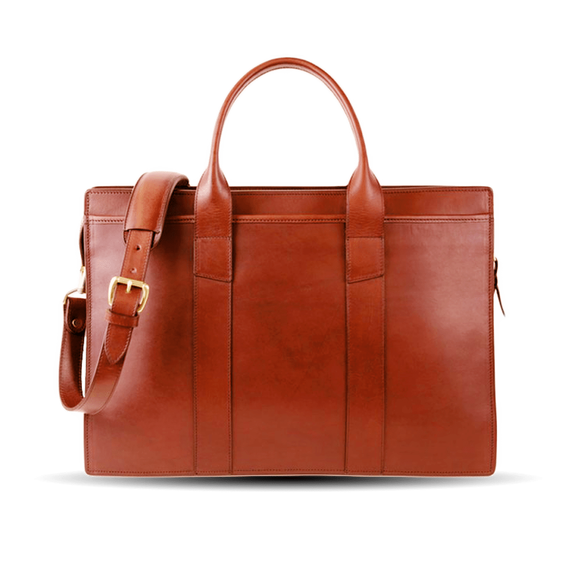 Frank Clegg Chestnut Double Gusset Zip-Top Briefcase