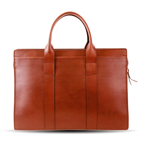 Frank Clegg Chestnut Double Gusset Zip-Top Briefcase Front