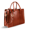 Frank Clegg Chestnut Double Gusset Zip-Top Briefcase Diagonal