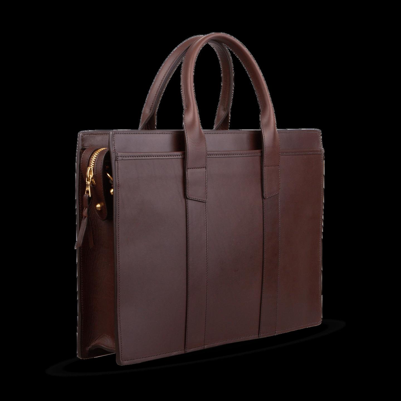 Frank Clegg Chocolate Single-Gusset Zip-Top Briefcase Diagonal