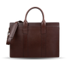 Frank Clegg Chocolate Single-Gusset Zip-Top Briefcase Front