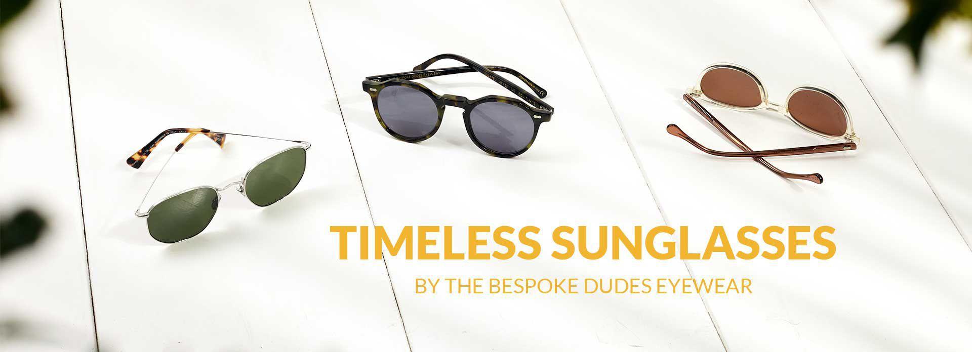Sunglasses. Models: Mohair, Lapel and Cran by The Bespoke Dudes Eyewear.