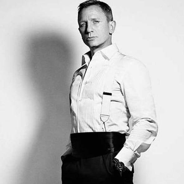 James Bond in Albert Thurston White Moire Braces