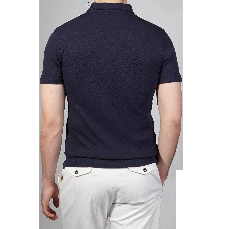 Sunspel Navy Short Sleeve Riviera Polo Back