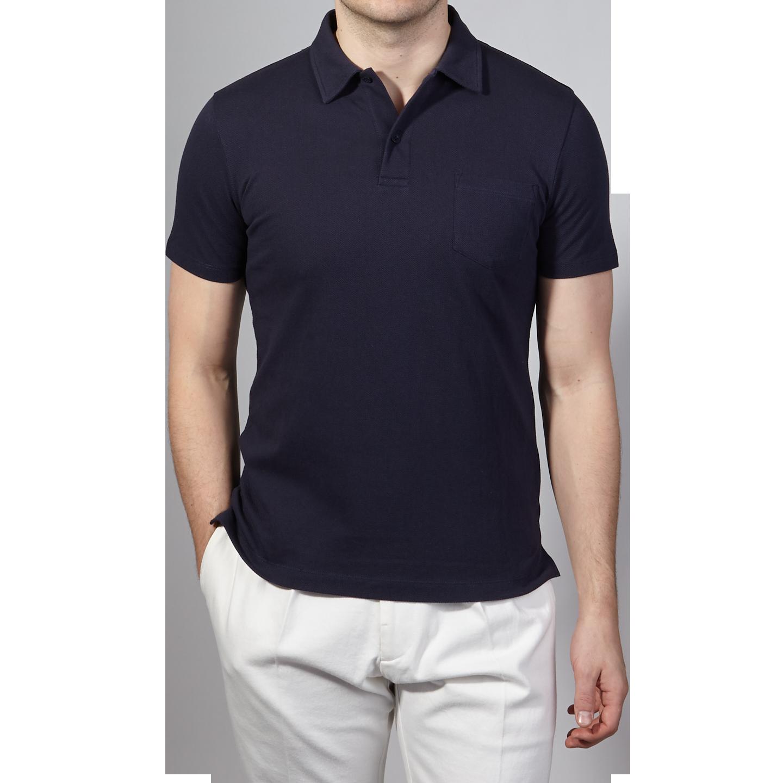 Sunspel Navy Short Sleeve Riviera Polo Front
