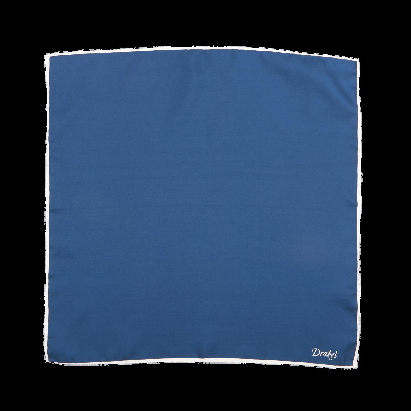 Navy Silk with White Edge Pocket Square