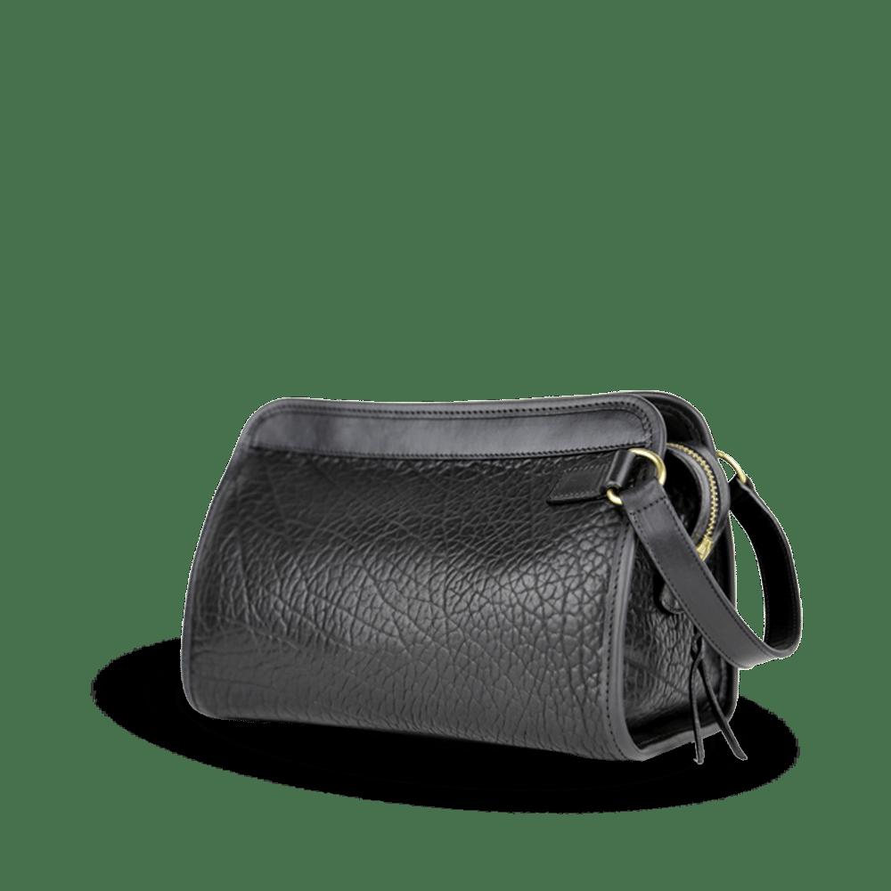 Black Large Travel Kit Shrunken Bison Leather