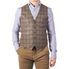 Brown Windowpane-Check Wool Waistcoat