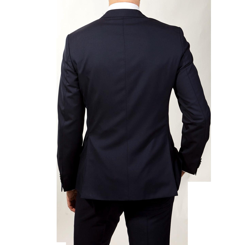 Oscar Jacobson Navy Edmund Wool Suit Jacket Back