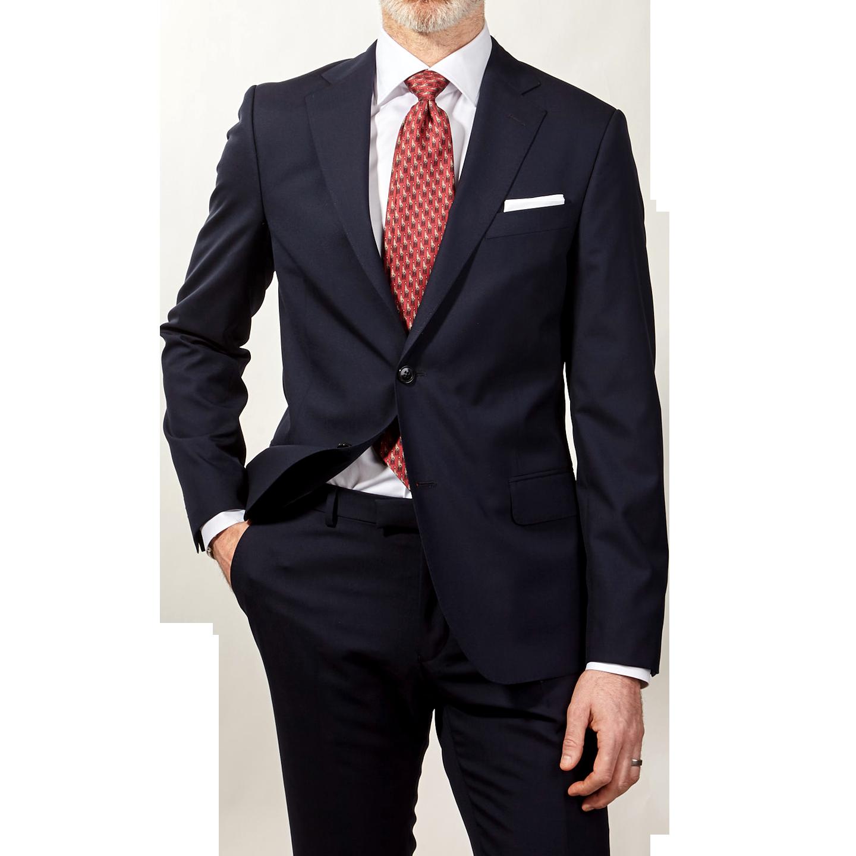 Oscar Jacobson Navy Edmund Wool Suit Jacket Front