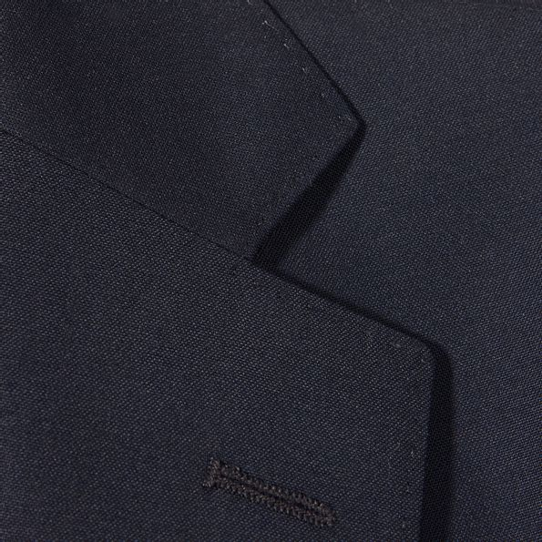 Oscar Jacobson Navy Edmund Wool Suit Jacket Collar