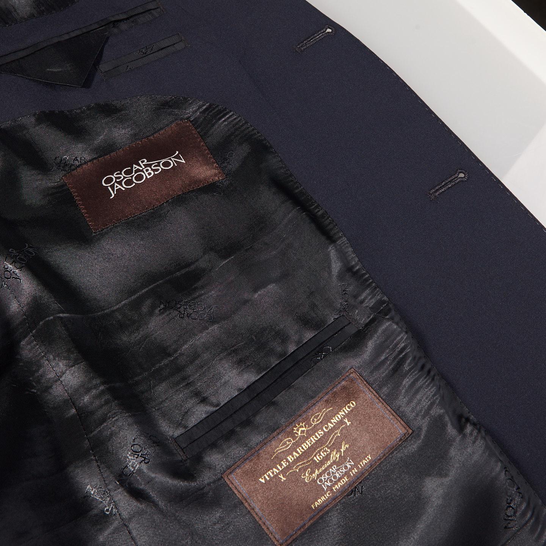 Oscar Jacobson Navy Edmund Wool Suit Jacket Inside