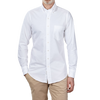 Drake's White Classic Pinpoint Oxford Shirt Front