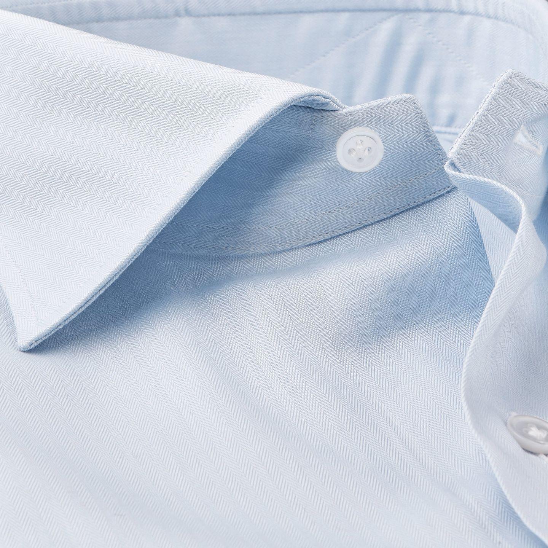 Mazzarelli Blue Slimline Herringbone Shirt Collar