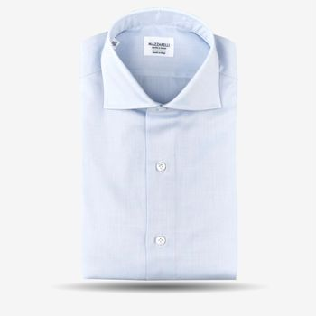 Mazzarelli Blue Slimline Herringbone Shirt Feature