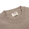 William Lockie Beige Crew-Neck Lambswool Sweater Collar