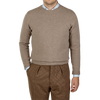 William Lockie Beige Crew-Neck Lambswool Sweater Front
