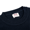 William Lockie Navy Crew-Neck Lambswool Sweater Collar