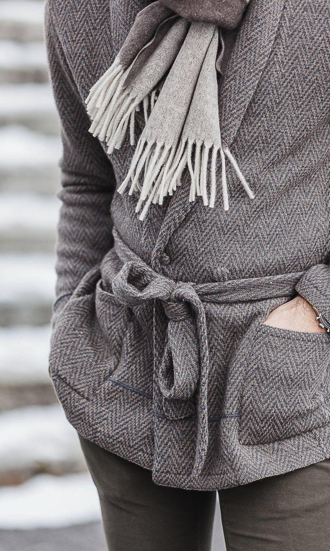 Gabriel Cohen In Knitted Belted Lardini Cardigan Close Up Fabric