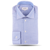 Blue Thin White Striped Slim Shirt Feature