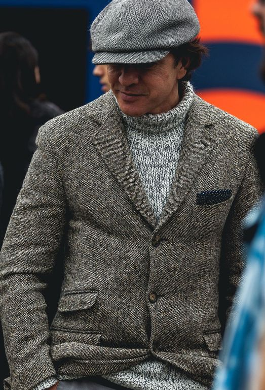 Man wearing heavy knitted roll neck and a hopsack blazer at Pitti Uomo 93