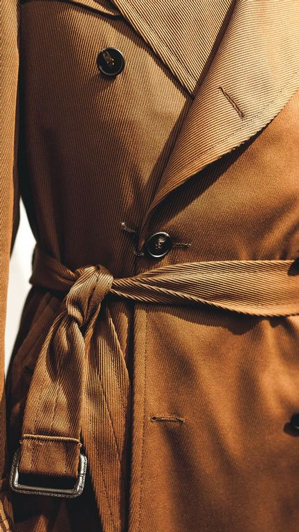 Tagliatore Brown Double Breasted Overcoat Waist Strap