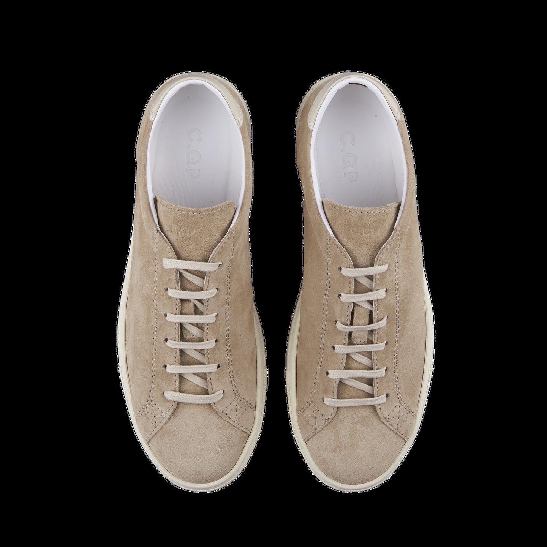 CQP Beige Suede Racquet Sneakers Above