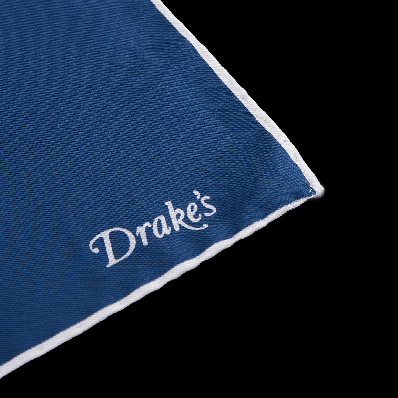 Drake's Navy White Classic Silk Shoe String Pocket Square Edge