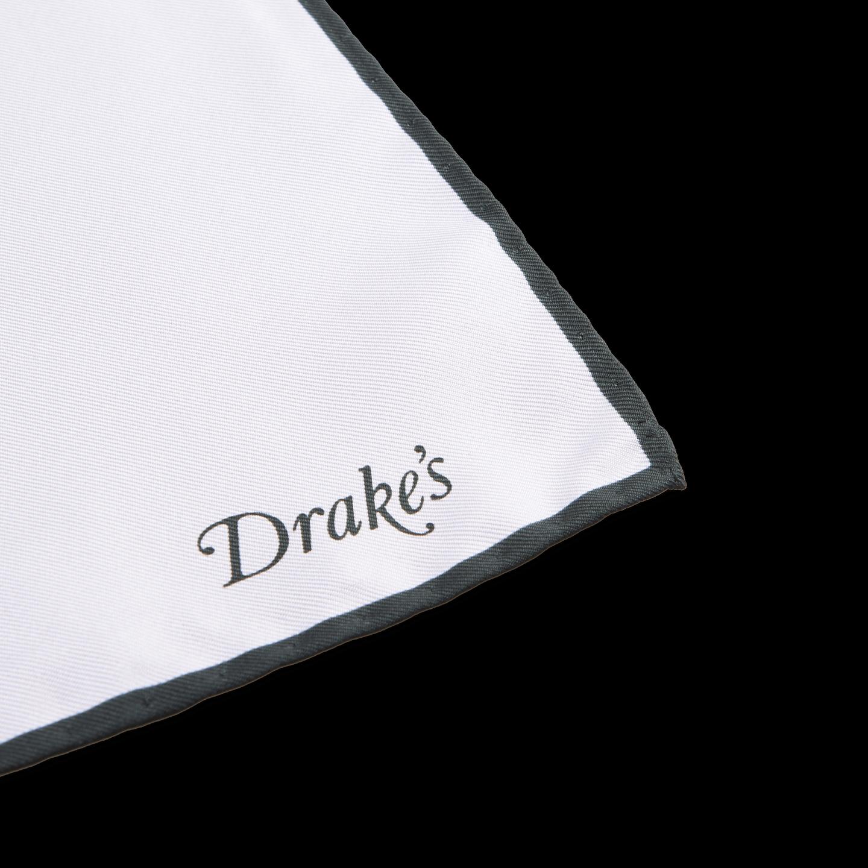 Drake's White Green Classic Silk Shoe String Pocket Square Edge
