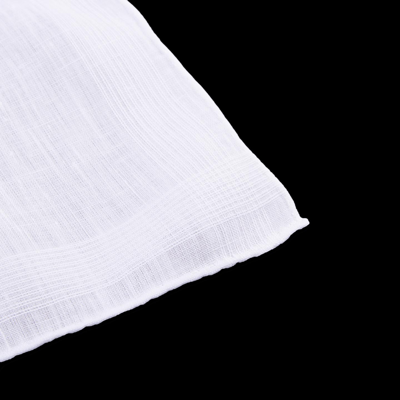 Drake's White Pure Linen Pocket Square Edge