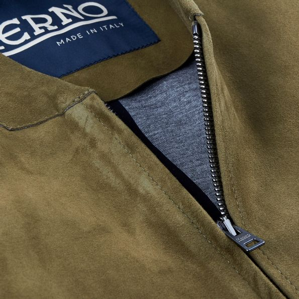 Herno Green Suede Bomber Jacket Collar