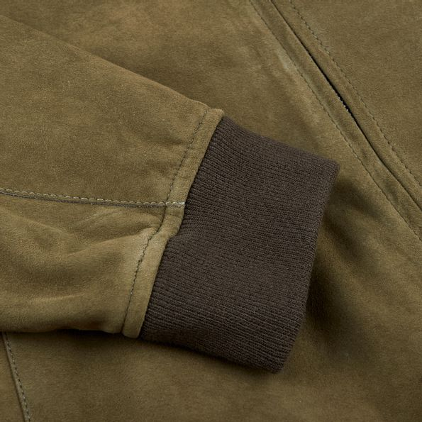 Herno Green Suede Bomber Jacket Cuff