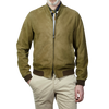 Herno Green Suede Bomber Jacket Front