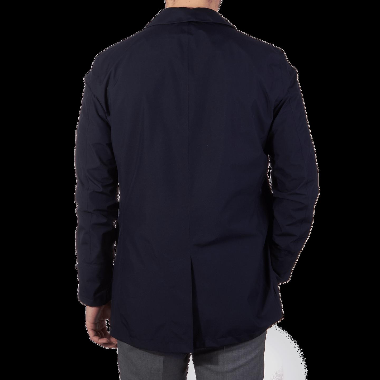 Herno Navy Laminar Coat Back