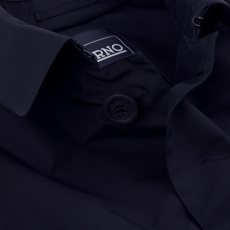 Herno Navy Laminar Coat Open Collar