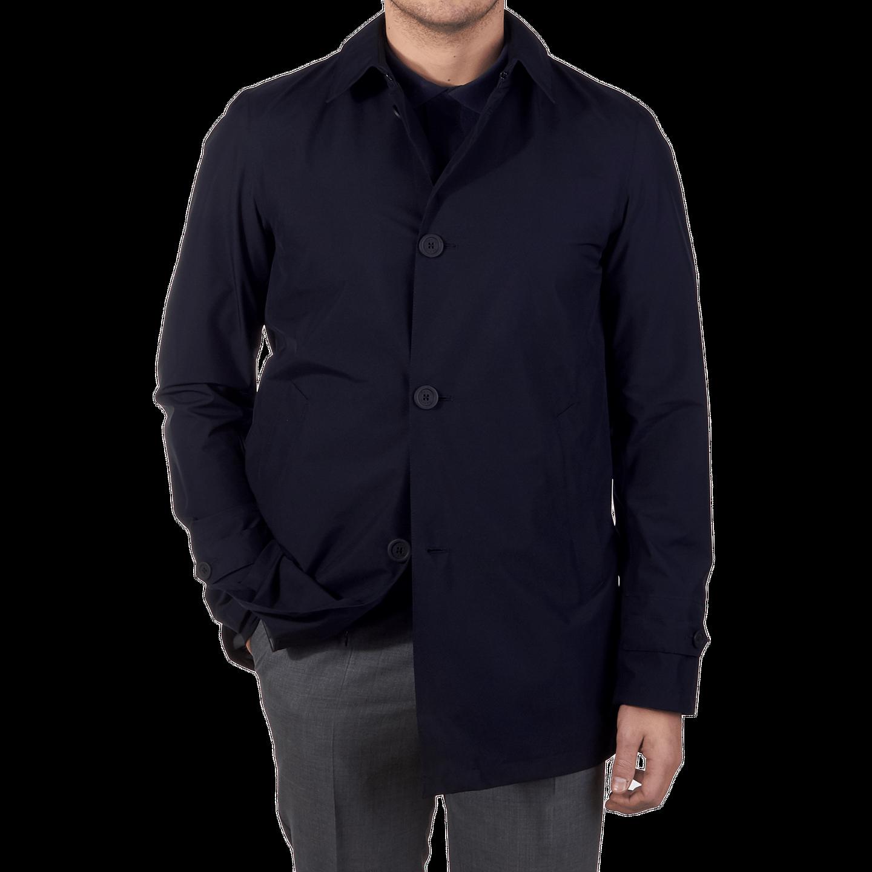 Herno Navy Laminar Coat Front