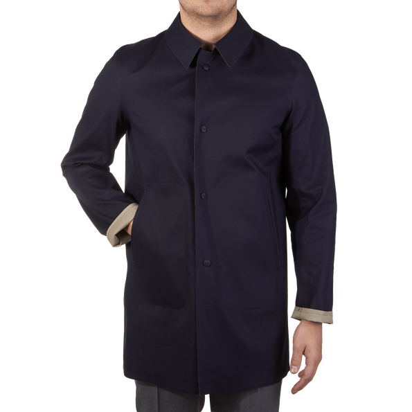 Herno Navy Reversible Waterproof Coat Front