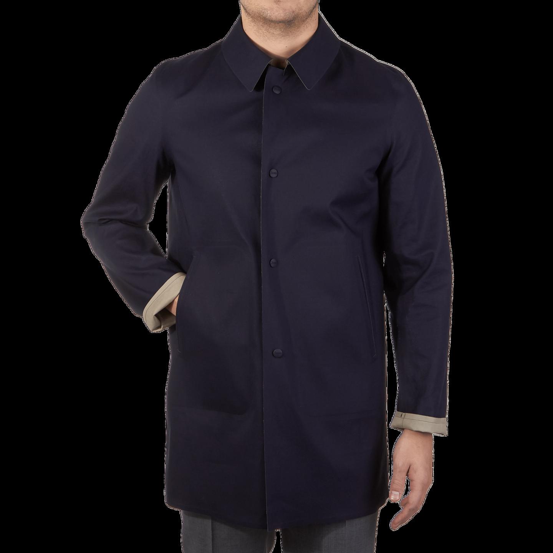 Herno Navy Reversible Waterproof Coat Front