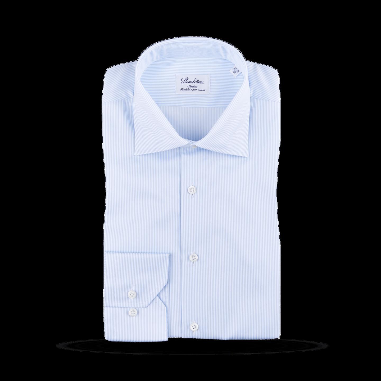 Stenströms Light Blue Striped Slimline Shirt Feature