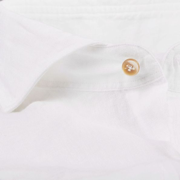 Stenströms White Slimline Linen Cut-Away Collar Shirt Collar